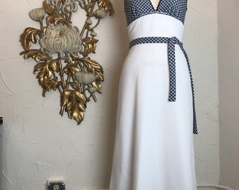 1960s dress maxi dress vintage dress size small navy and white gingham dress 26 waist summer dress