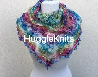 Multi coloured Shawlette ... Wrap