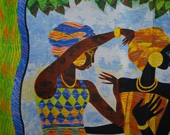 African Keith Mallett quilting panel Celebration of Joy women