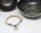 Amazonite and lotus seed bodhi mala yoga bracelet