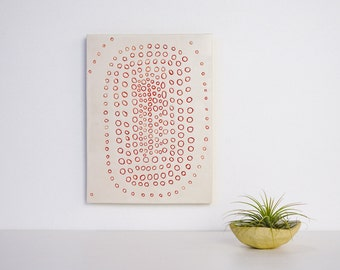 CIRCLE SPIRAL Ceramic Wall Art By Tina Schowalter Modern ceramics and design pottery wall hanging trivet decorative  line drawing clay