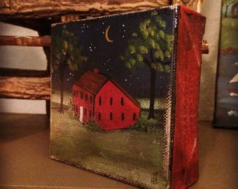 Mini Painting red salt box house New England Prim Folk Art