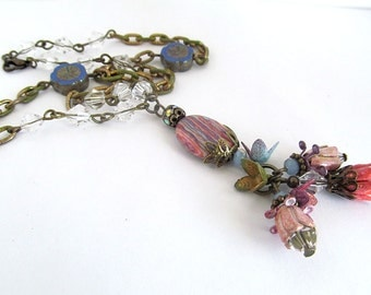 Rainbow Calsilica Bead Necklace, Antiqued Brass Tassel Pendant Necklace, Vintage Metal Flower Beads, Crystal Bead Necklace, Summer Jewelry