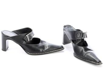 Leather Mules Black 90s SANDALS Slip On 1990s Summer Shoes Bright High Heel Monk Strap Slider Shoes Heels US wom 6 Uk 3.5 Eur 36.5