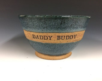 "6"" Personalized Bowl, Hand made pottery, customize name plate, made to order"