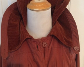 Womens vintage 1970's rust/brown corduroy trench coat size M/L