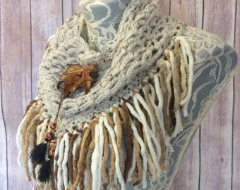Golden Maple cowl... knit crocheted fringed yarn soft scarf leather tie bohemian boho