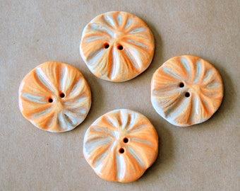 4 Handmade Stoneware Flower Buttons - Poppy buttons in Sweet Orange