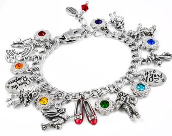 Wizard of Oz Charm Bracelet, Glinda the Good, Tin woodsman, Scarecrow, Dorothy, Toto, Over the Rainbow, Adult or Child
