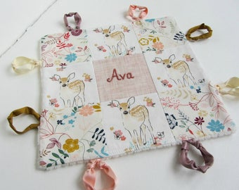 Baby Lovey Girl Blanket with Custom Hand Embroidery Name Or Initial ~ Choice of Backing Fabric ~Woodland Fawn Deer Wildflower Boho Girl