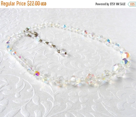 20% SALE Sparkly Vintage 1950s Large Chunky Single Strand Crystal Beaded Necklace Aurora Borealis Wedding Bridal Formal Pageant Jewelry Ball
