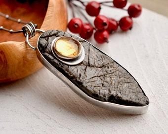 Raw Black Obsidian Statement Necklace, Stone on Stone Necklace, Gemstone Jewelry, Citrine Pendant, Birthstone Jewelry, Art Jewelry