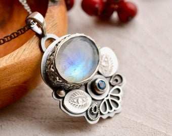 925 Silver Necklace, Rainbow Moonstone Necklace, Botanical Necklace, Modern Handmade Jewelry, Artisan Jewelry, Handcrafted