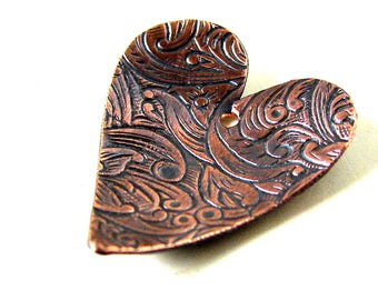 Etched Copper Heart Pendant/Focal