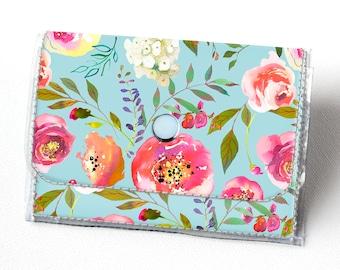 Vinyl Accordion Wallet - Pastel Floral Blue / small, peony, snap, cute, card case, vinyl wallet, women's wallet, blue, flowers, summer, rose