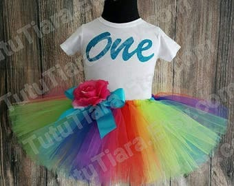"First Birthday Rainbow Tutu Skirt and Shirt Set for Girls, Babies, Toddlers, Economy Less Full Tutu - Imagine - 8"" Sewn Tutu"
