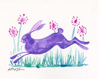 Purple Bunny Painting, rabbit, flowers, watercolor art, Rabbit Watercolor Painting Easter Minimalist Abstract art Kathy Morton Stanion
