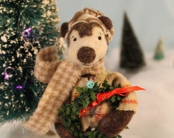 Bringing Holiday Gifts, felted bear doll for collectors