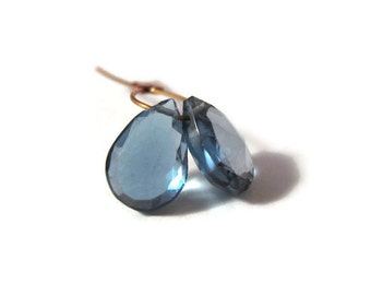 London Blue Topaz Beads, 2 Matching Faceted Pear Shaped Briolettes, 7mm x 5mm - 9mm x 5.5mm, Gemstones for Making Jewelry (Luxe-Bt1a)