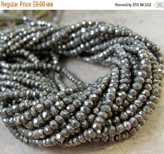 Spring SALE - Natural Pyrite Beads, 6.5 Inch Strand of Pyrite Beads, Small 3mm -3.5mm Rondelles, Fools Gold, Over 60 Stones (R-Py1)