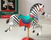 Vintage Hallmark Christmas keepsake ornament,Carousel Zebra,handcrafted,Linda Sickman,artist's favorite,holiday,unique,sculpted,original