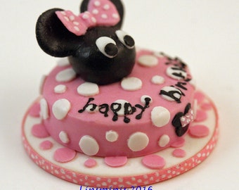 12th scale handmade miniature Minnie Mouse Birthday Cake.