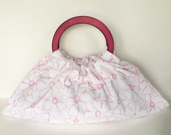 Embroidered Flowers Hobo Purse - Handmade Handbag with Hot Pink Wood Handles