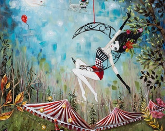 Circus Performers, Lyra Acrobat, Tight Rope Walker, Juggler, Cats Pop Surrealism, Heather Renaux