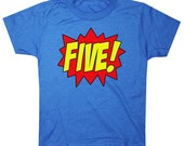 Kids SUPERHERO Fifth Birthday T-shirt Number Five 5th Birthday Shirt