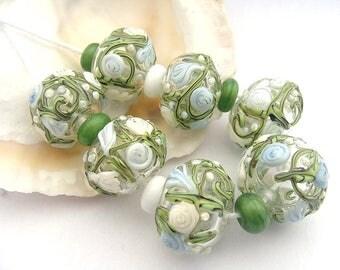 7 Hollow Floral Beads & 8 Spacers Handmade Lampwork