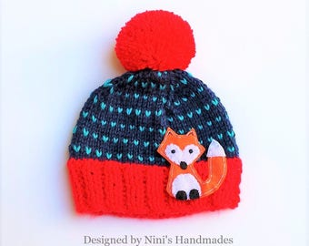 FOX inspired Fair Isle Style striped knit Beanie, Red Navy Turquoise, knit boys and girls  hats, kids fox apparel, baby shower gift fox
