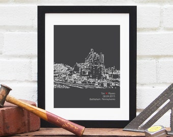 Bethlehem Pennsylvania Skyline, Wedding Decor City Skyline, Engagement Gift, First Anniversary Gift, Bridal Shower Gift, Newlywed Gift