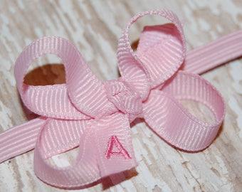 Monogram Infant Bow- Monogram Newborn Bow - Infant Headband Bow - Baby Headband Bow - Toddler Bow - Newborn Bow - Personalized Bow