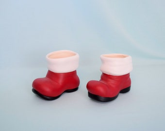 Santa Boot Mini Size - Christmas Decor - Teacher Gift - Candy dish - Stocking Stuffer - Gifts under 10 - Saint Nicholas - Red Boot