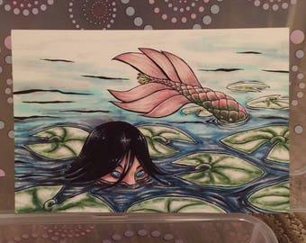 """Lotus Mermaid - 6x4"""" Matte Art Print"""
