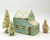 Handmade Wooden Blue House Set- Original Holiday Decor- Christmas Village- Three Trees- Natural Mica Snow