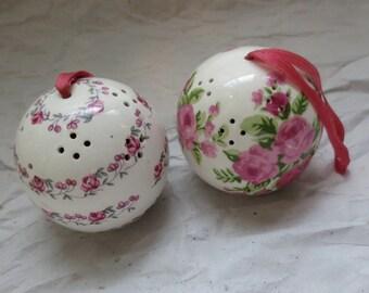 Ceramic Roses Pomander Balls  - Closet Sachets - Andre Richard Scentomanders - Hanging Potpourrie Balls