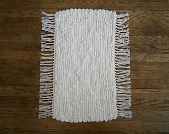 Hand Woven Sock Looper Rag Rug, Cream Colored