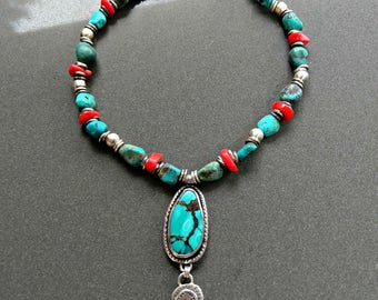Turquoise  necklace, Chunky silver, turquoise and coral necklace, Pendant  , turquoise jewelry, Boho style turquoise necklace