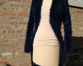 Fun Fur Open Front Cardigan - Crochet - Blue, Sweater, Duster
