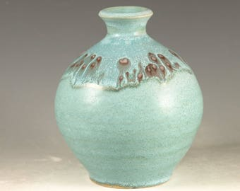 Small Bud Flower Vase - handmade pottery with turquoise glaze