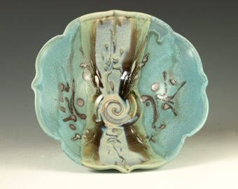 Handmade serving bowl in turquoise blue wheel thrown pottery serving bowl