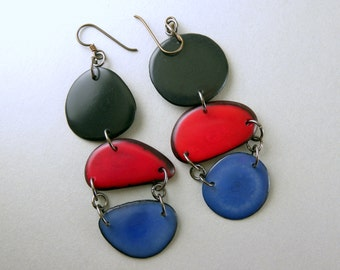 Black, Red, Violet Shoulder Duster Trio of Tagua Nut Eco Earrings with Free USA Shipping #taguanut #ecofriendlyjewelry