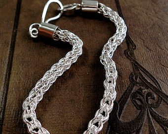 Etruscan link bracelet, Handcrafted chain, Fine and Sterling Silver, loop-in-loop jewelry