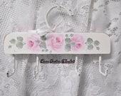 Vintage Wood Belt, Ribbon, Scarf, Necklace and more Hanging Holder, Hand Painted Cottage Roses, Side Checks, Storage, Closet,Helper, ECS