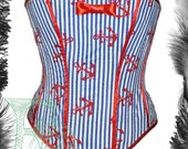 Sample Sale - Nautical Stripes & Anchors Corset. Waist 26 inches.
