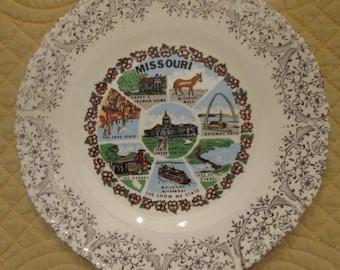 Vintage Souvenir Plate - Missouri State Plate - Wall Art