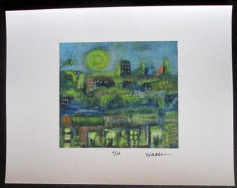Original Signed  BLUE NIGHT CITYSCAPE Print from Painting by Southwestern Ontario  Canada Artist Ellen Haasen