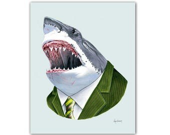 Great White Shark art print - shark art - shark print - animals in suits - unique gift - animal artwork - groomsmen gift - Ryan Berkley 5x7