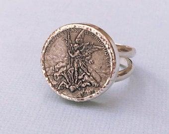 Saint Michael the Archangel Men's Ring St. Michael Sterling Silver